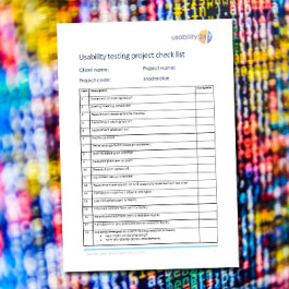 Usability testing project check list